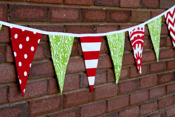 Christmas Bunting Banner- Red and Green Pennant Flags-