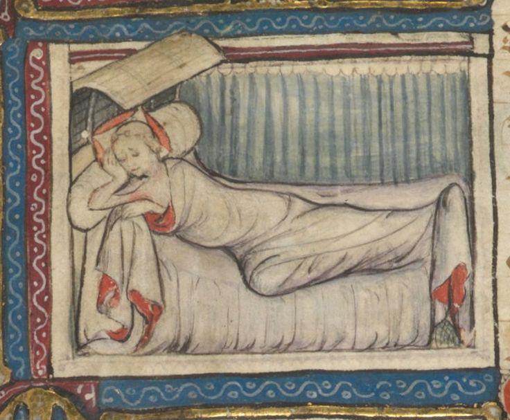 Roman de la rose . Date d'édition : 1340-1360 Type : manuscrit Langue :Français Pillow appears to be one long bolster. Ikea sells a long down bolster...