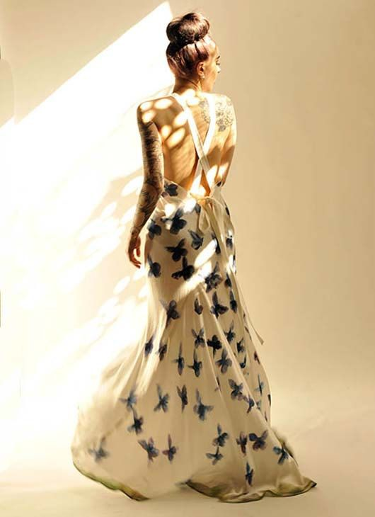 Handpainted Blue Morpho Butterfly Silk Satin by sowsearstudio1