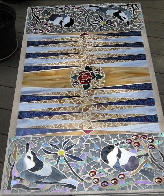Mosaic Backgammon Table by KathanStainedGlass on Etsy