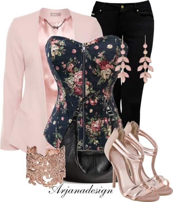 """Rose Floral Bustier"" by arjanadesign on Polyvore"