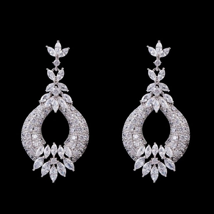 Luxury Long CZ Platinum Plated Drop Earrings