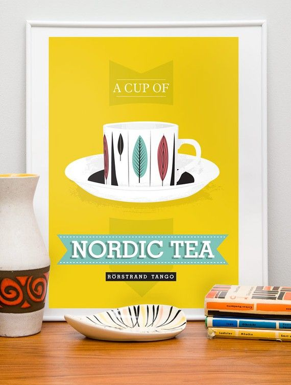 Tea cup  print kitchen art poster     Nordic Tea  by handz on Etsy, $19.00