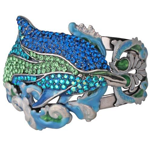 Princess Of The Seas Dolphin Cuff Bracelet (Antique Silvertone/Average Size)