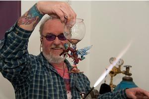 On Fire Glassworks, Dave Jordan, artist in Lake City, Colorado.