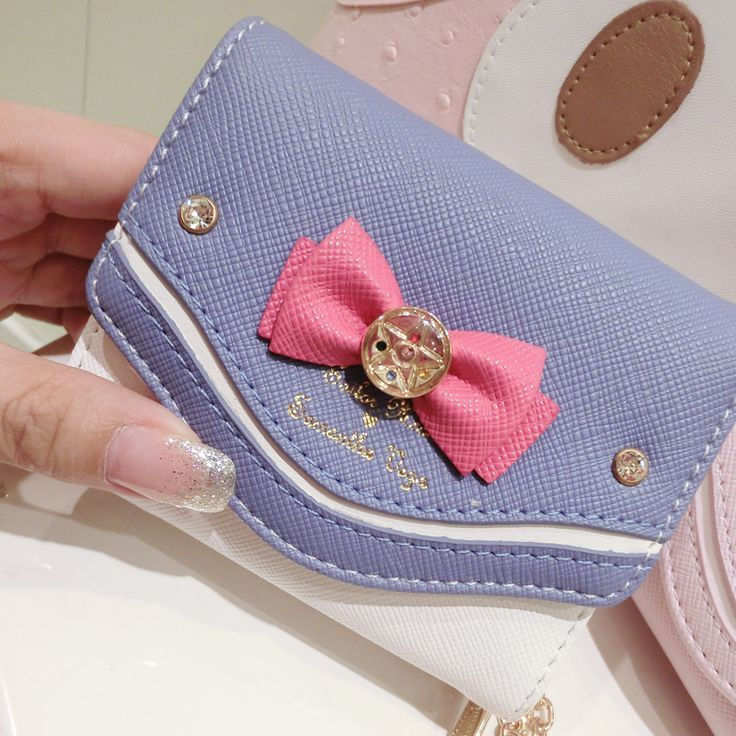 Women Fashion Leather Wallet Zipper Clutch Thin Cute Bow Long Purse Card Handbag
