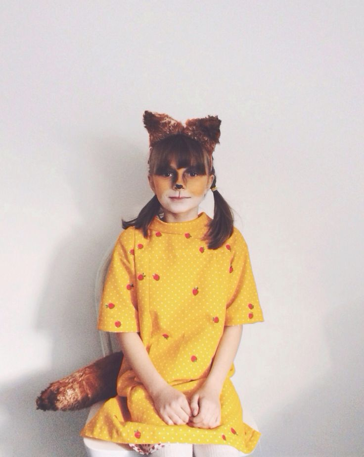 Handmade World Book Day costume ~ Fantastic Mr Fox. DIY fox ears made from dyed fake fur, and a Fantastic Mrs Fox costume sewn using the Oliver & S school photo dress pattern, printed with red little apples.