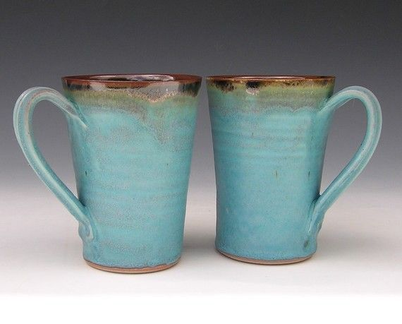 Ceramic Latte Mugs  Made to Order  Turquoise by clearmountaincraft, $50.00 My mugs are a customer favorite and will make your morning happier! Each mug hold 2 cups of liquid - that's 18 ounces of coffee ! This set of 2 mugs was hand thrown, glazed and fired by me in my home studio and are glazed with a pretty Turquoise, Brown and Black combination.