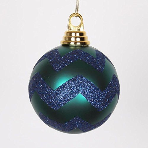 Felices Pascuas Collection Teal Green Matte and Sea Blue Glitter Chevron Shatterproof Christmas Ball Ornaments 4 inch (100mm)