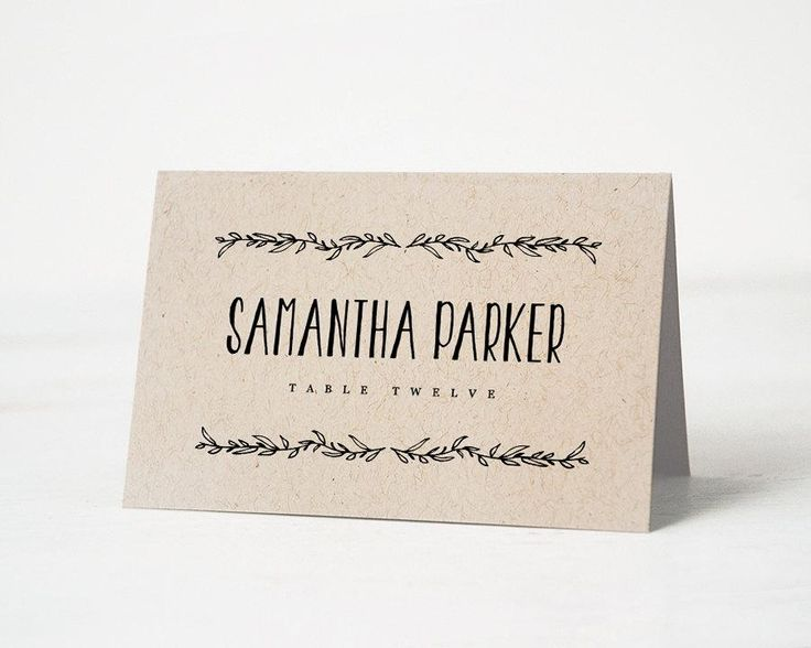 Printable Place Card Template Wedding Cards Editable