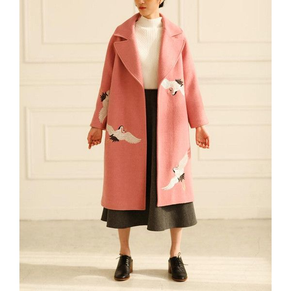 Fine Art Collection Pink Wool White Crane Hand Embroidery Winter Coat... (€235) ❤ liked on Polyvore featuring outerwear, silver and women's clothing