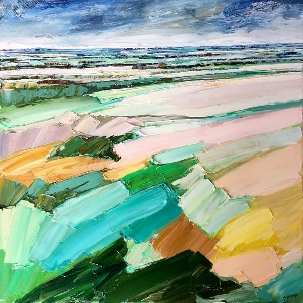'Safe Distance' original oil landscape by Adelaide artist Katie Wyatt. Framed in a natural shadowline box frame. Dimensions: Artwork 60cm x 60cm Frame 64.5cm x 64.5cm.  Born in 1974, Katie received an Associate Diploma in Fashion Design, Marleston TAFE, South Australia. She paints in an abstract impressionist style, creating textural pieces based on her own experiences, memories, photographs and recollections.  Katie's graphic design background is also evident through her solid co...