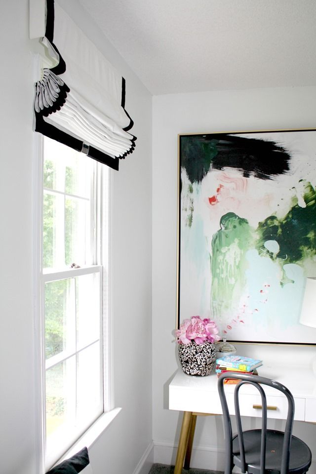 Cordless Roman Shades, desk, art, pink, greens, blues, whites, black