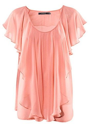 great site for cute, cheap clothes. Pink Pleated Scoop Neck Lotus Sleeve Chiffon Blouse