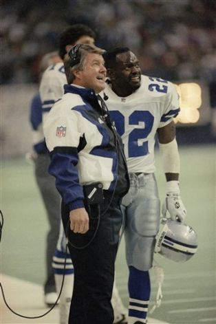 Image detail for -Dallas Cowboys coach Jimmy Johnson and running backs Emmitt Smith (22 ...
