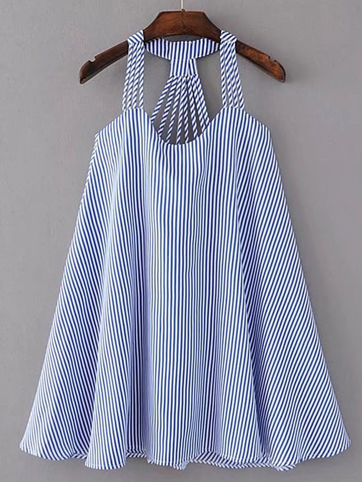 ¡Consigue este tipo de vestido informal de SheIn ahora! Haz clic para ver los detalles. Envíos gratis a toda España. Strappy Pinstripe Open Back Tent Dress: Blue Casual Cute Cotton Spaghetti Strap Sleeveless Tent Short Striped Spring Summer Dresses. (vestido informal, casual, informales, informal, day, kleid casual, vestido informal, robe informelle, vestito informale, día)