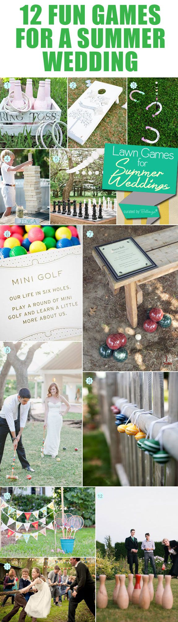 12 fun-filled wedding lawn games for a wedding reception that is more of a party! Visit the full post at Bellenza Wedding Bistro.   #weddinglawngames #weddinggames #outdoorsummerweddings