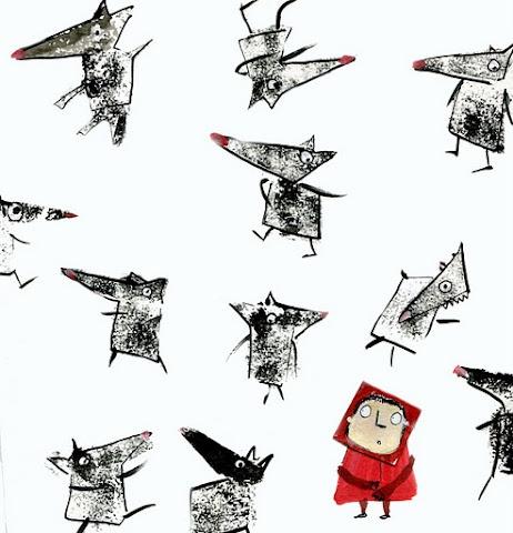 """""""La abuela vivía lejos, en el bosque, a media hora de la aldea. Cuando Caperucita Roja llegó al bosque, salió a su encuentro el lobo, pero la niña no sabía qué clase de fiera maligna era y no se asustó.""""  Caperucita Roja - Hermanos Grimm Por @Lara Elliott Piccirillo Rose #DLIJ animación: http://vimeo.com/32213227"""