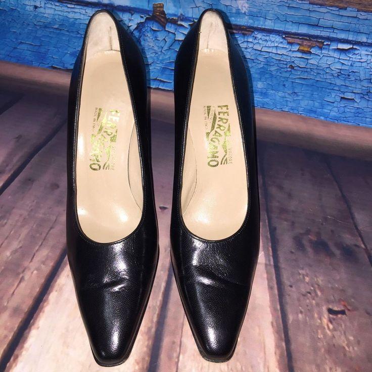 Salvatore Ferragamo Womens Black Leather 3 1/2