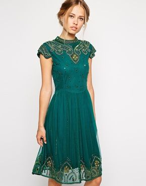 Love this dress so much, I want it in my Christmas Wardrobe - Frock and Frill Embellished High Neck Skater Dress with Mesh Back