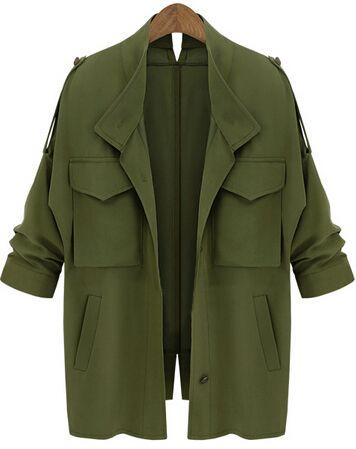 manteau décontracté avec poche -Vert kaki  28.16