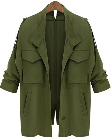 Pockets Loose Army Green Coat  In Stock    Was AU$69.20AU now $35.20(Sale)