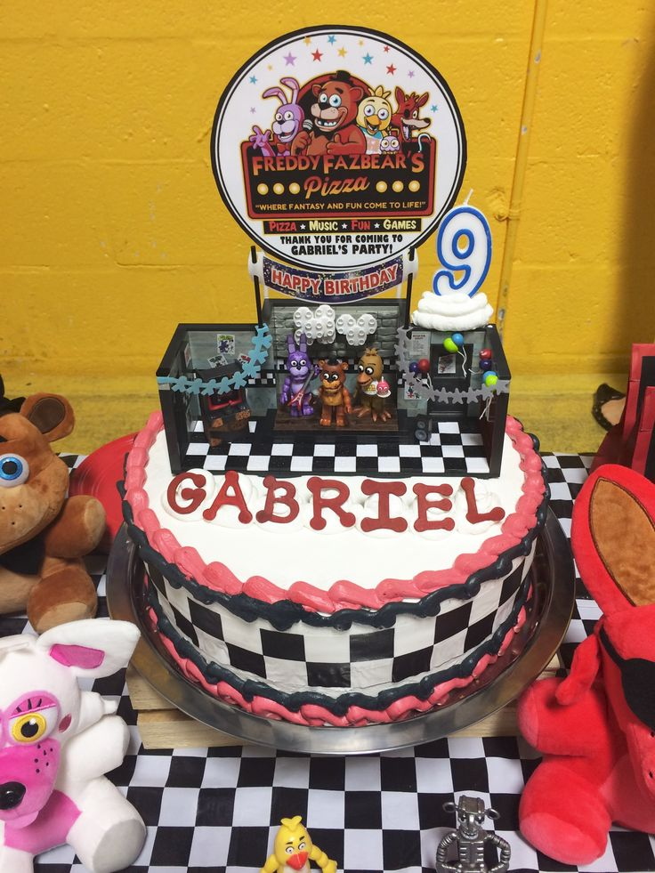 Fnaf Cake With Toy Stage Set Topper Fnaf Birthday Party