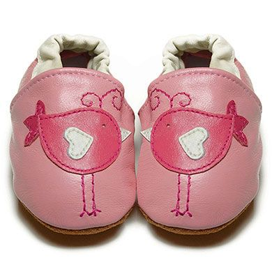 Pink Lovebirds - Soft Sole Baby Shoes | FOX & FROG I Available in Sizes 0-6, 6-12 & 12-18 months