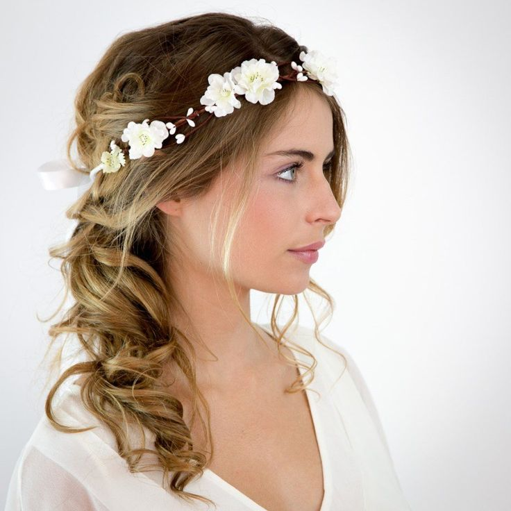 Mariage Couronne de fleurs blanches Elsa Les