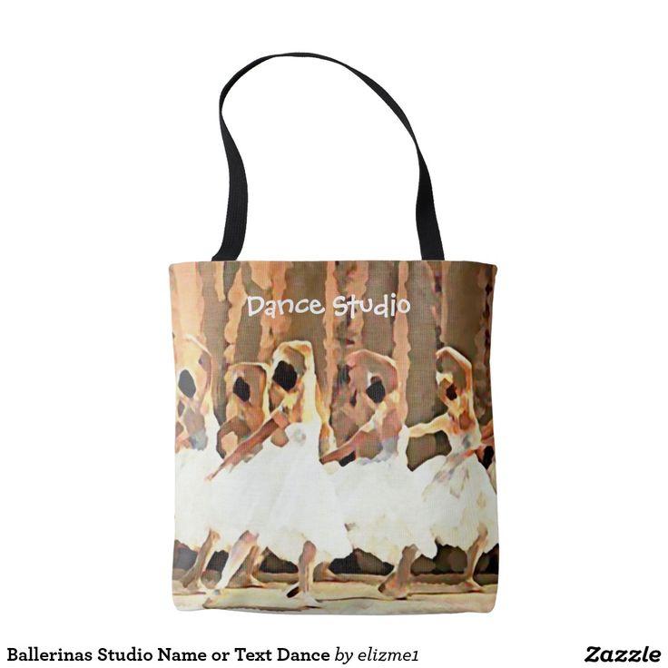 Ballerinas studio name or text dance tote bag, a unique gift for a ballerina or a dance teacher.