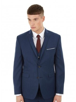 BLUE TEXTURED TAILORED FIT SUIT JACKET