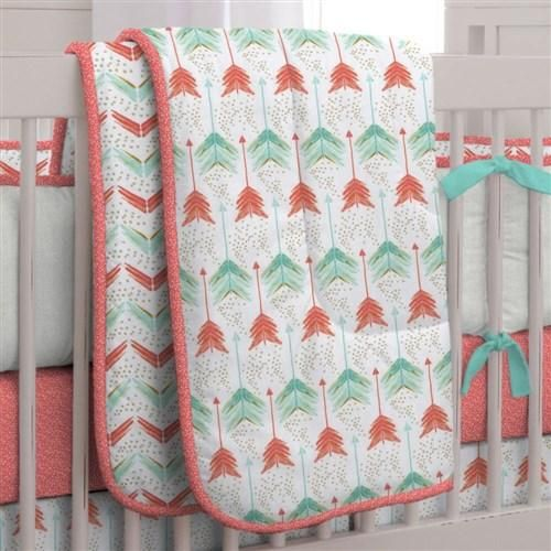 Coral and Teal Arrow Neutral Crib Bedding Set by Carousel Designs.