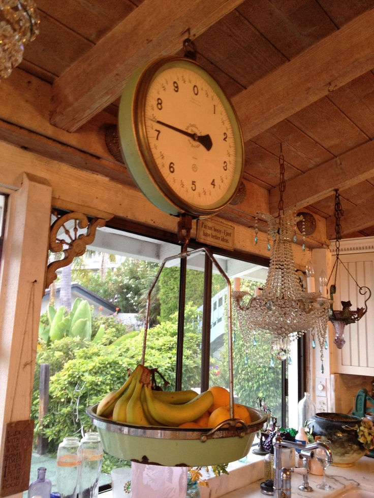 I have an antique scale that is green but not exactly like this one.  I have it hanging in my kitchen and I put veggies and fruit in it.  Love it!