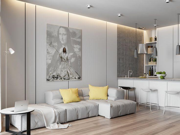 Фотография: Гостиная в стиле Минимализм, Проект недели, ЖК Фили Град, новостройка, Quadro room – фото на InMyRoom.ru