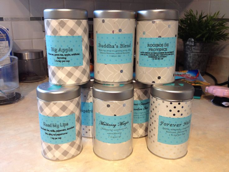 I overhauled my @davidstea tins to give them a fresh look, and then created a tea wall in my kitchen.