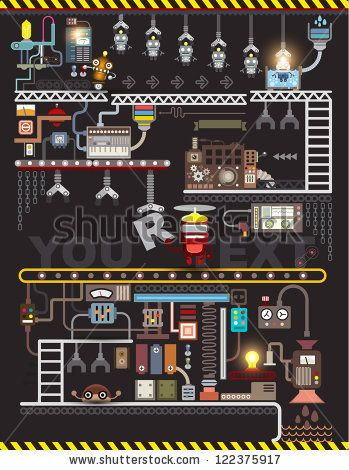 Robot engineering, Robot Factory, Vector illustration. factory Map and Information Graphics. - stock vector