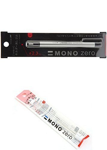 Tombow MONO Zero Eraser, Round Tip, Retractable, Silver Barrel (Eraser with an extra refill (57305 and 57307))  Convenient clip for on-the-go corrections  Available in two tip shapes and sizes  Pen-style body is easy to use and store  Round tip  2.3 millimeter diameter