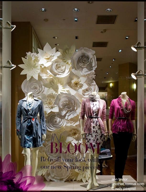 Ann Taylor paper flowers visual merchandising..nice!!