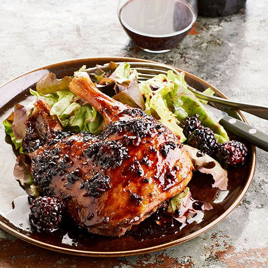 Roast Duck with Blackberry-Orange Sauce. Complement the rich flavor of roasted duck with a bright blackberry-citrus sauce. After roasting, use leftover duck fat to flavor your choice of roasted root vegetables.  Serve With: Roasted Root Vegetables and Chocolate Puffs with Mascarpone Cream. Start to Finish: 3 hrs