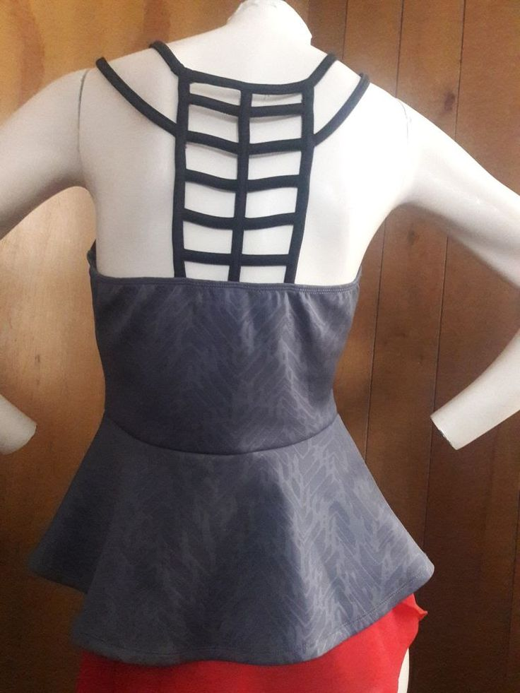 Body Central Small size Top Gray Black Ladder Back Peplum Hem 30/28 #BodyCentral #PeplumwithLadderBack #Versatile