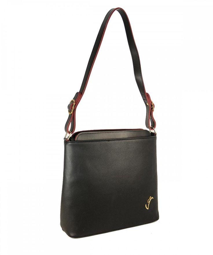 Μαύρη γυναικεία τσάντα ώμου Veta