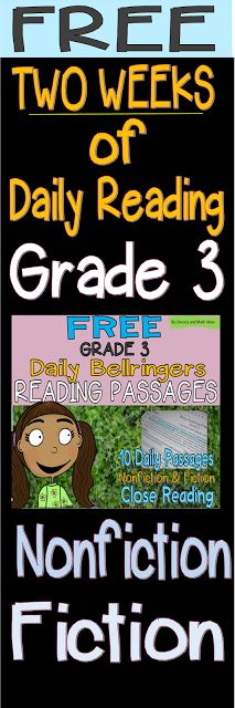 (Free) Two Weeks of Grade 3 Daily Reading Practice (Bellringers). Nonfiction and fiction passages are included. Access two weeks of quick, daily passages and close reading.  Weekly checklists are included.