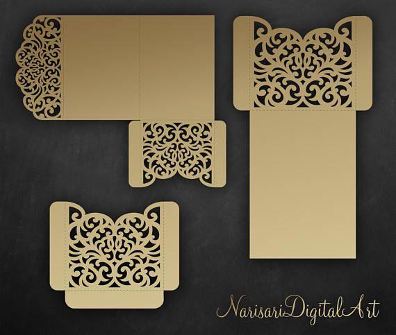 Tri Fold pocket envelope 5x7 Wedding Invitation DXF SVG EPS