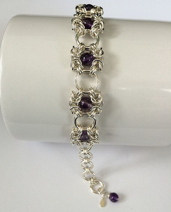 This Romanov Design Bracelet Holds 7 Amythest Gemstones