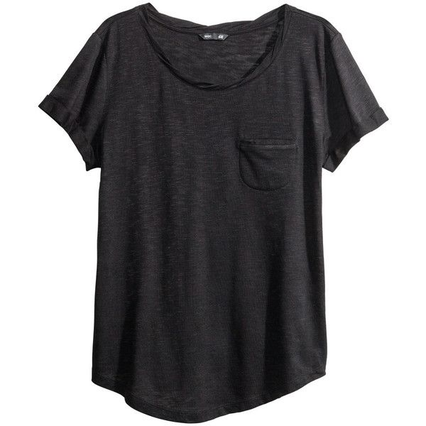 H&M Jersey top (17 CAD) ❤ liked on Polyvore featuring tops, t-shirts, shirts, tees, black, short sleeve tee, black t shirt, short sleeve shirts, twisted t shirts and h&m shirts