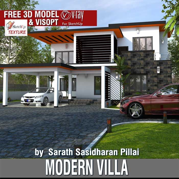 Last Free Sketchup 3d Model Modern Villa By Sarath Sasidharan Pillai Model Housevillas