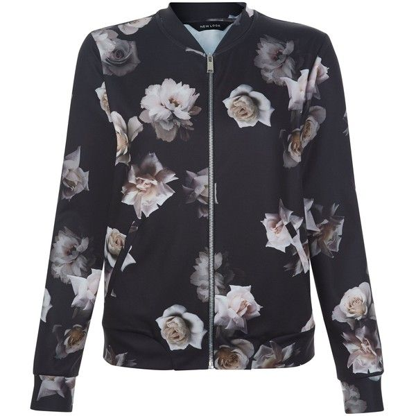 New Look Black Rose Print Bomber Jacket (£19) ❤ liked on Polyvore featuring outerwear, jackets, black pattern, bomber jacket, print bomber jacket, blouson jacket, flight jacket and bomber style jacket
