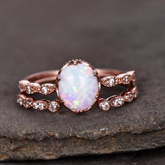 This is a beautiful Opal cubic zircon wedding ring Set in 925 sterling silver. M…