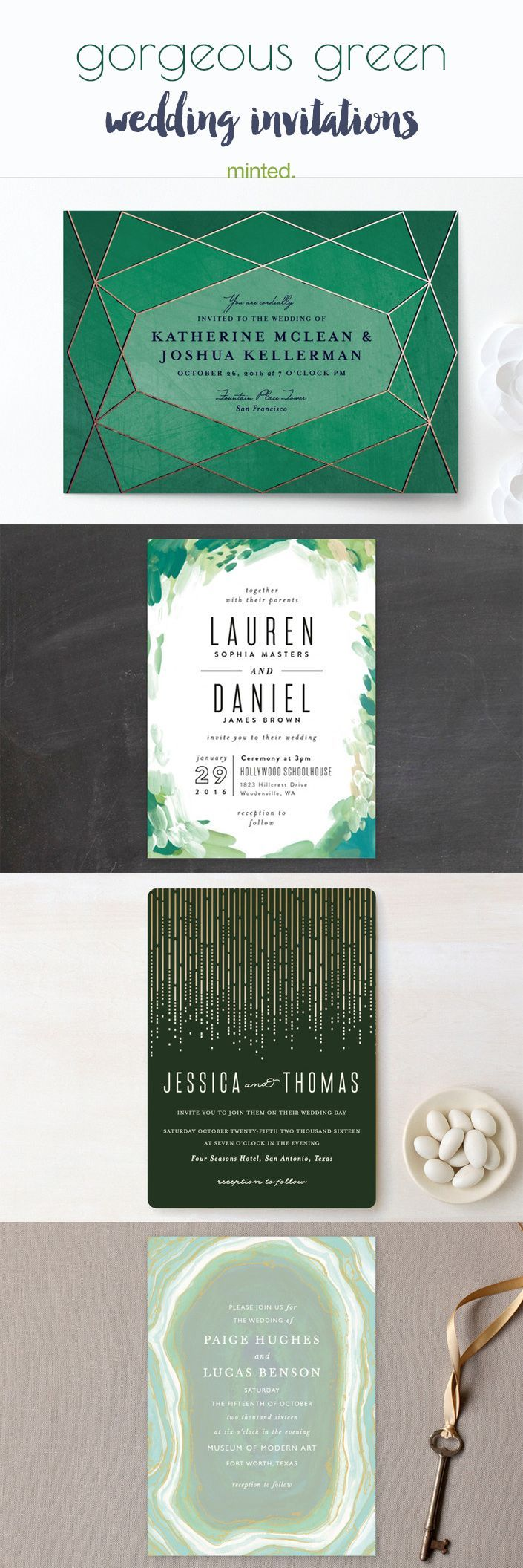 Gorgeous green wedding invitations perfect for emerald or lush green forest inspired weddings.