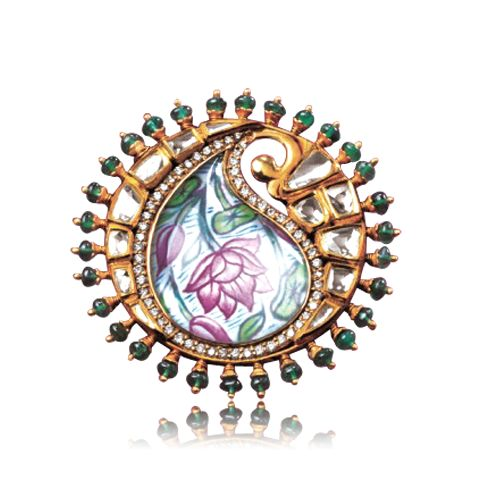 Polki and Diamond Finger Ring - Zoya Banaras Collection